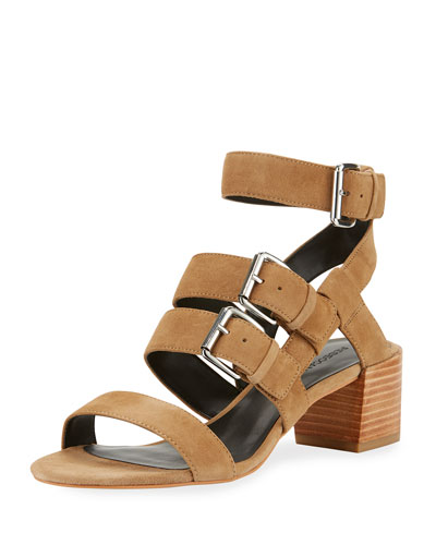 Ilana Suede Strappy City Sandal, Taupe