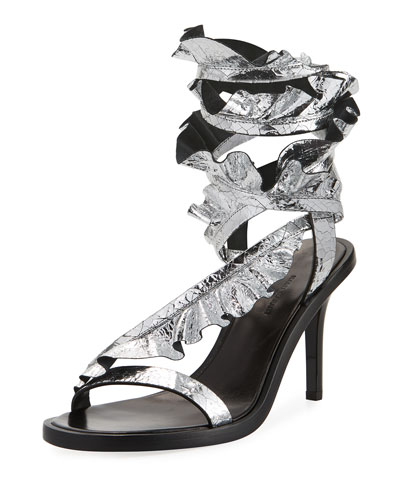 Ansel Ruffled Ankle-Wrap Sandal, Silver