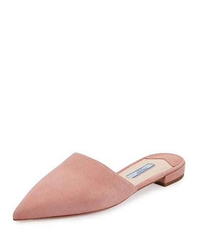 Suede Pointed-Toe Mule Flat, Rose