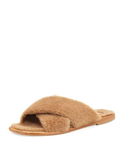 Shearling Crisscross Slide Sandal, Dark Mushroom