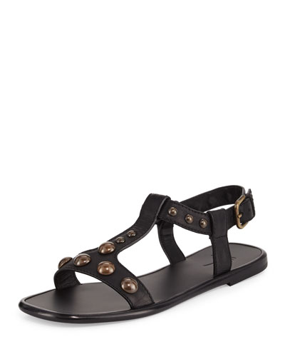 Dome-Studded Leather Sandal, Black
