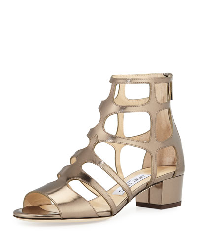 Ren Mirrored Caged 35mm Sandal, Antique Military Gold