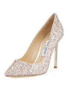 Romy Glitter Pointed-Toe 100mm Pump, Pink Metallic