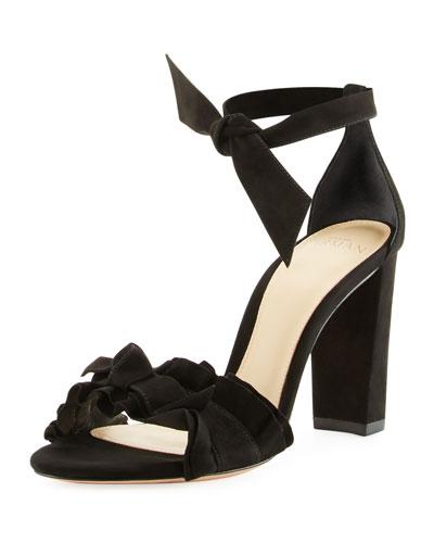 Lupita Suede Block-Heel Sandal, Black