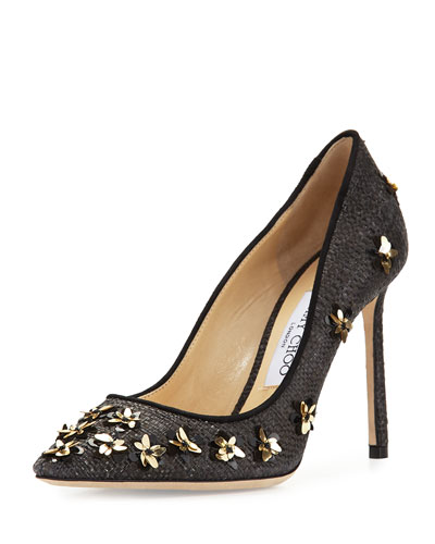 Romy Flower Raffia 100mm Pump, Black