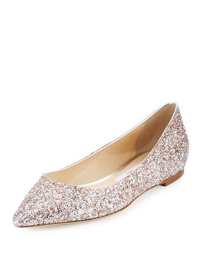 Romy Glitter Suede Ballerina Flat, Camellia Mix
