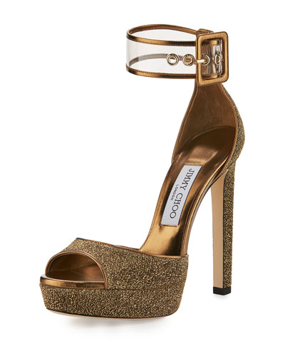 Mayner Metallic Fabric 130mm Sandal, Gold/Clear