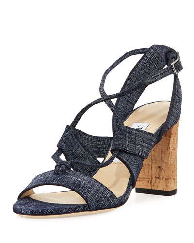 Margo Crisscross 80mm Sandal, Denim Blue