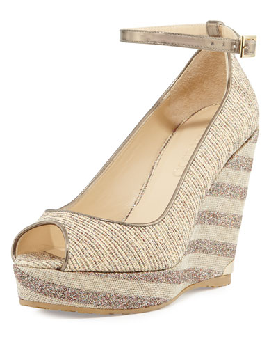 Pacific 120mm Peep-Toe Wedge Pump, Natural/Multi