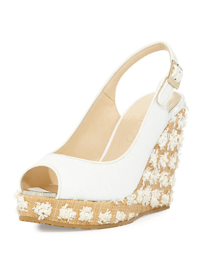Prova Raffia Slingback Wedge Sandal, Off White