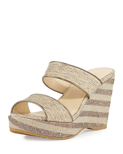 Parker Striped 100mm Wedge Sandal, Natural/Multi