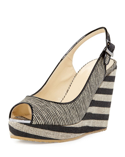 Prova Striped Slingback Wedge Sandal, Beige/Black