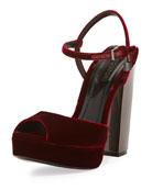 Velvet Platform 105mm Sandal, Wine