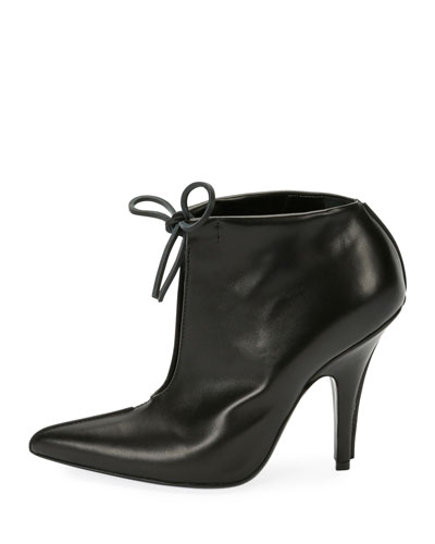 Open-Front Self-Tie Bootie, Black
