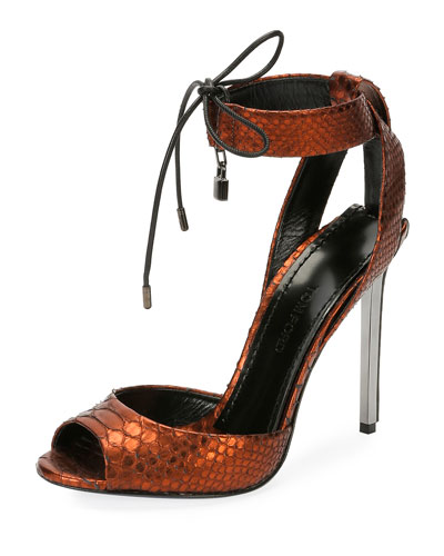 Metallic Python 105mm Padlock Sandal, Rust