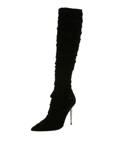 Pleated Velvet Knee Boot, Black