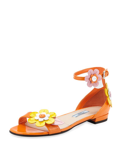 Floral Patent Flat Sandal, Orange