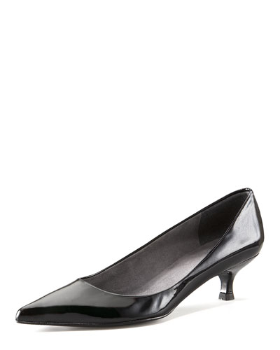 Poco Patent Kitten-Heel Pump, Black