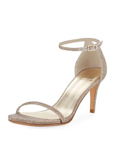 Naked Glitter Mid-Heel Sandal, Pewter
