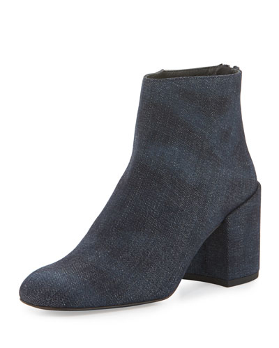 Bacari Denim Chunky-Heel Bootie, Navy Antique Denim