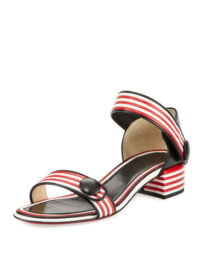 Striped Ankle-Wrap City Sandal, Black