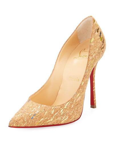 Decoltish Metallic Cork Red Sole Pump, Multi