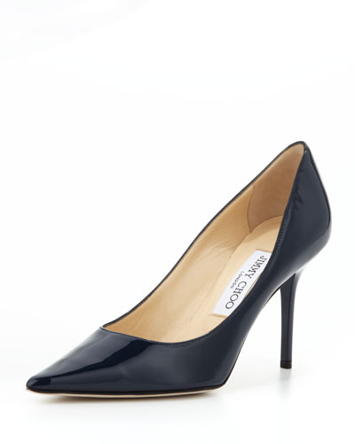 Agnes Pointed-Toe Patent Pump, Navy