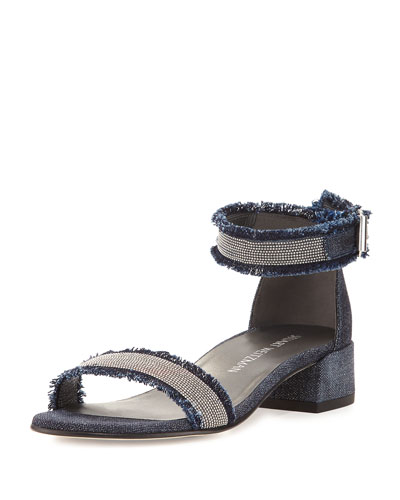 Nudistchains Denim Ankle-Wrap Sandal, Navy