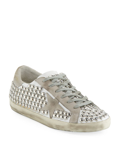 Golden Goose Superstar Old Studded Low-Top Sneaker, White