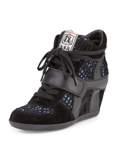 Bowie Sequined Hidden-Wedge Sneaker, Black/Blue