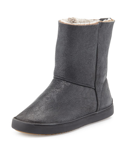 Kali Shearling Fur Sneaker Boot, Black