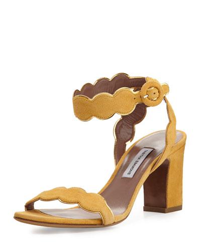Cloud Suede Ankle-Wrap 75mm Sandal, Sunflower/Gold