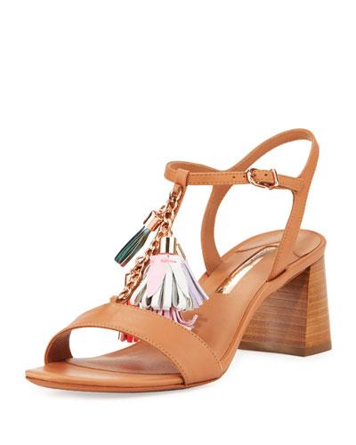 Juno Tassel Mid-Heel Sandal, Luggage