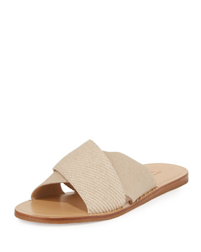 Keaton Flat Crisscross Canvas Slide Sandal, Neutral