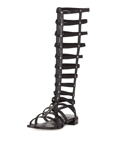 Gladiator Tall Leather Sandal, Black