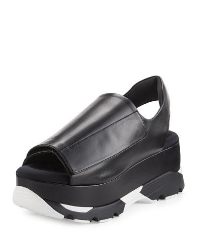 Slingback Grip Platform Sandal, Black