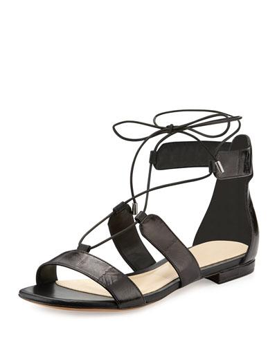 Brenda Eel Lace-Up Flat Sandal, Black