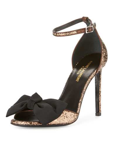Jane Glitter Bow 105mm Sandal, Brown