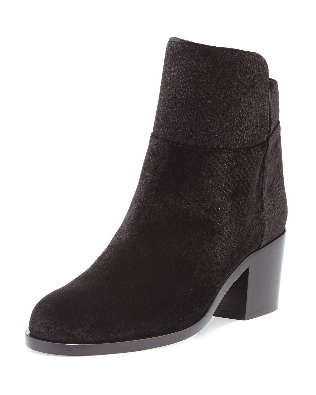 Velvet Low Equestrian Boot, Black