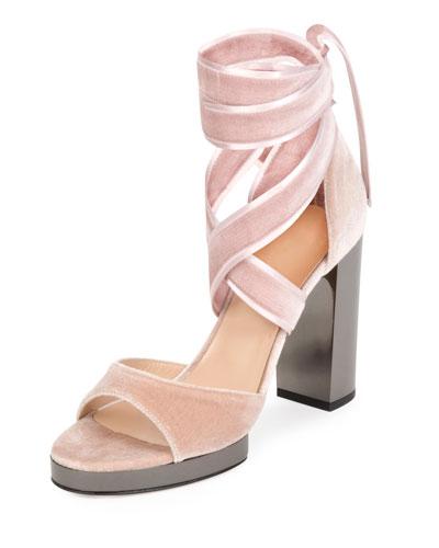 Ballet Fever Velvet Ankle-Wrap Sandal, Poudre/Ruthenio