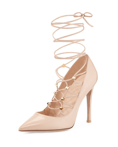 Rockstud Lace-Up Pointed-Toe Pump, Poudre