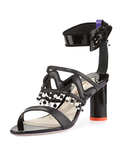 Nereida Beaded Ankle-Wrap Sandal, Black/Multi