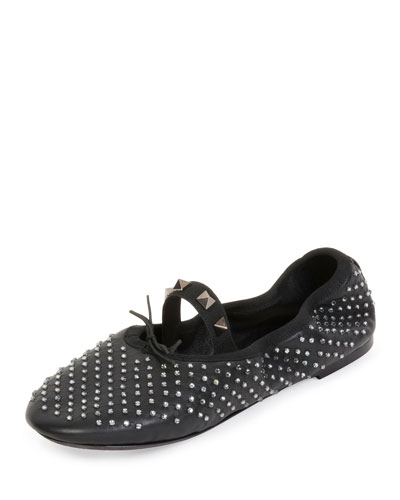Rockstud Crystal Leather Ballerina Flat, Black/Black Diamond