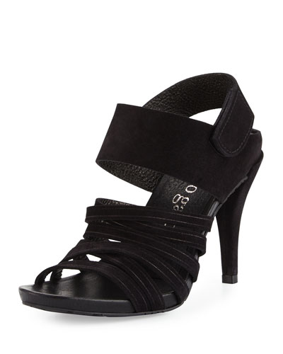 Yuna Suede Strappy Sandal, Black