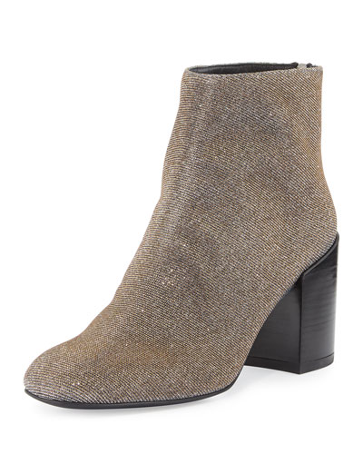Bacari Nocturn Chunky-Heel Bootie, Pyrite