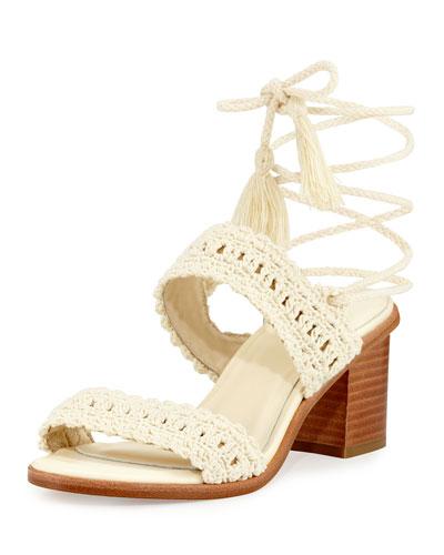 Moxie Crochet Tassel Sandal, Ivory
