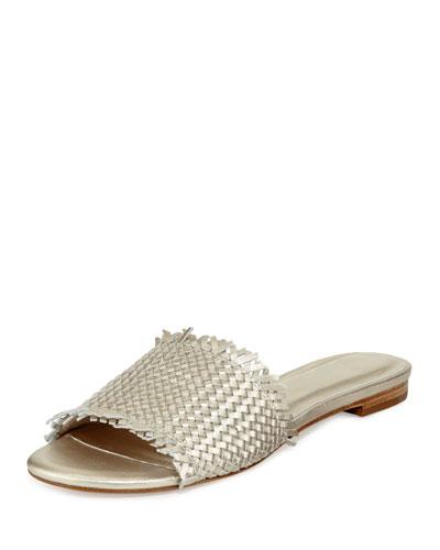 Fadey Woven Flat Slide Sandal, White Gold