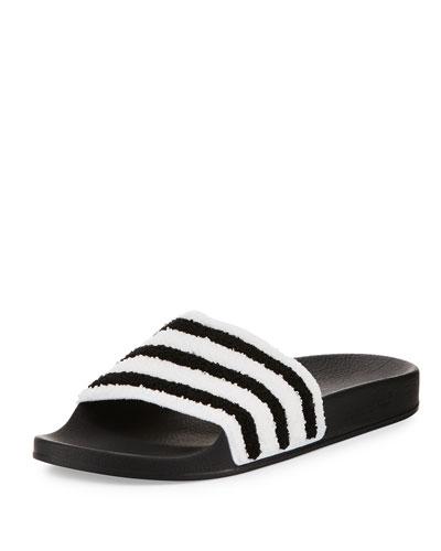 Adilette Striped Slide Sandal, Black/White