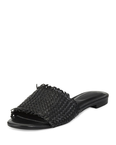 Fadey Woven Flat Slide Sandal, Black