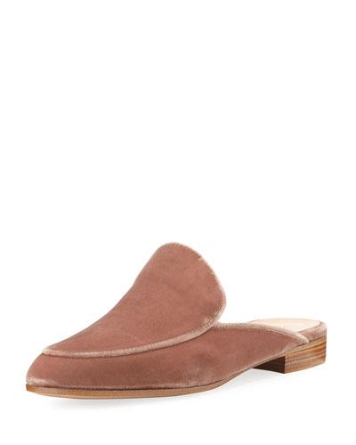 Velvet Flat Loafer Mule